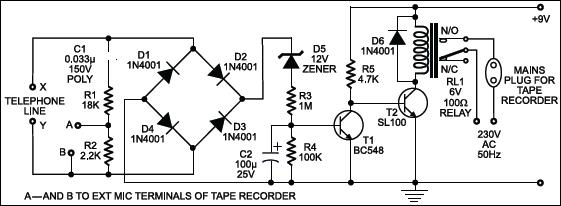 Telephone Conversation Recorder Circuit