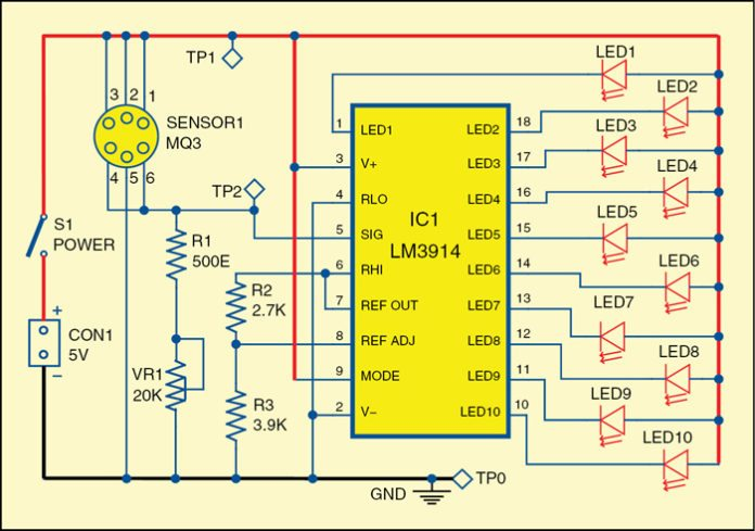 alcohol level tester circuit