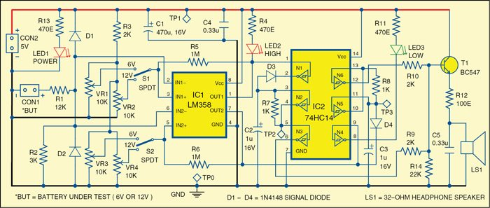Fig. 1: Circuit diagram of monitor for 6V/12V batteries