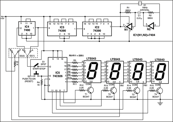 electronic stopwatch circuit