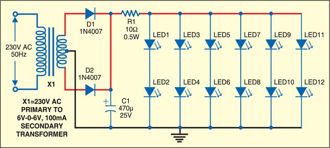 Fig. 3: Illumination LEDs with DC power supply circuit