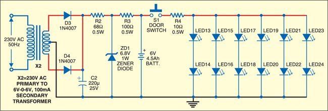 Fig. 4: LED illumination for refrigerators with DC power supply and standby battery supply circuits