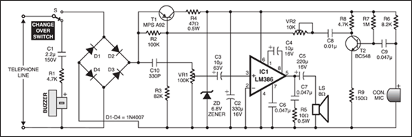 Telephone Receiver | Detailed Circuit Diagram AvailableElectronics For You