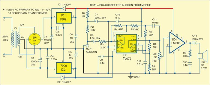 Fig. 1: Circuit diagram of simple low power audio amplifier