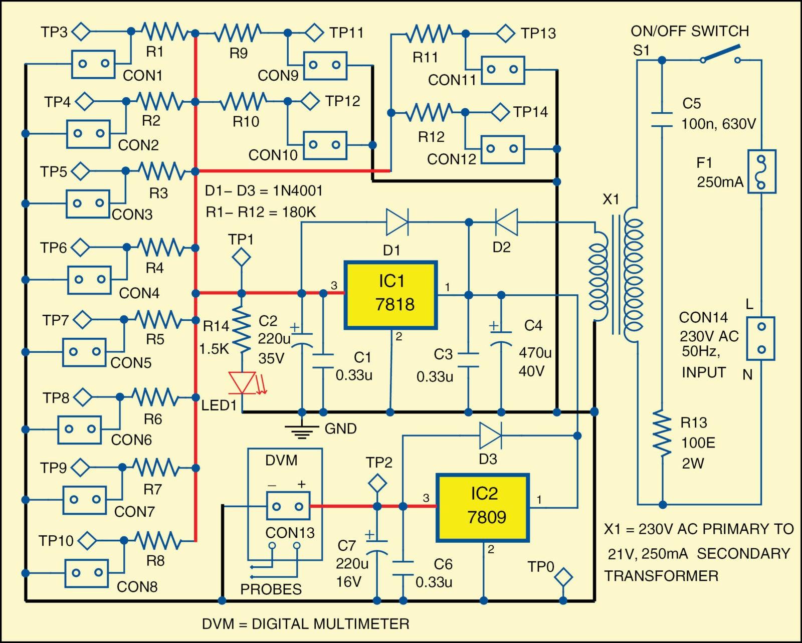 Temperature sensing diodes detector circuit diagram