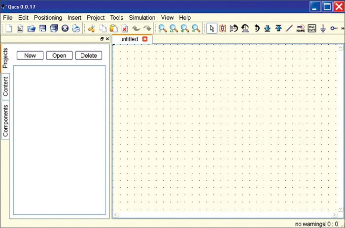Fig. 1: The main window after opening QUCS