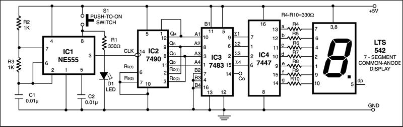 Numeric Display Digital Dice Circuit