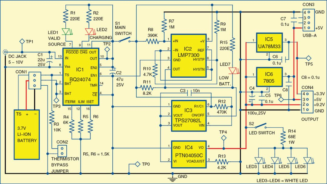Circuit diagram of the mini rechargeable power supply