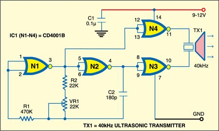 Fig. 1: Ultrasonic Burglar Alarm: Transmitter unit