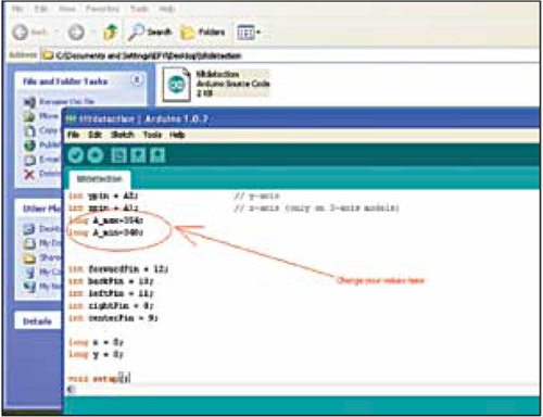 Screenshot of Arduino Uno programming for Tilt Detector