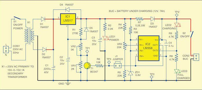 12V battery charger circuit