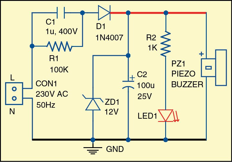 Fig. 1: Circuit diagram of the mains power indicator