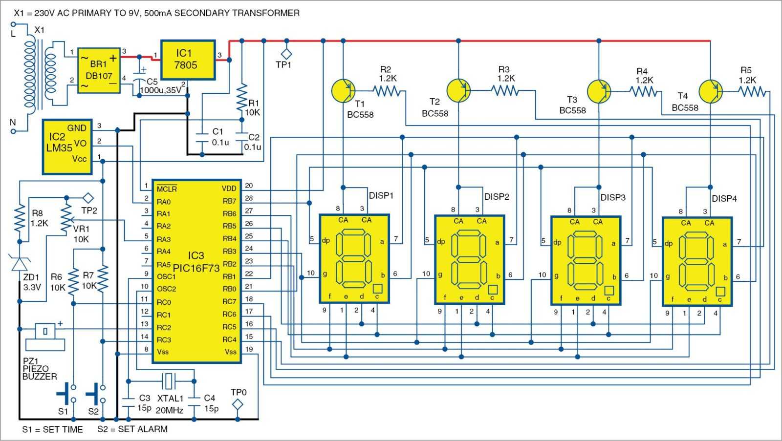 Fig. 1 Pic projects: Circuit of the alarm clock-cum-temperature indicator