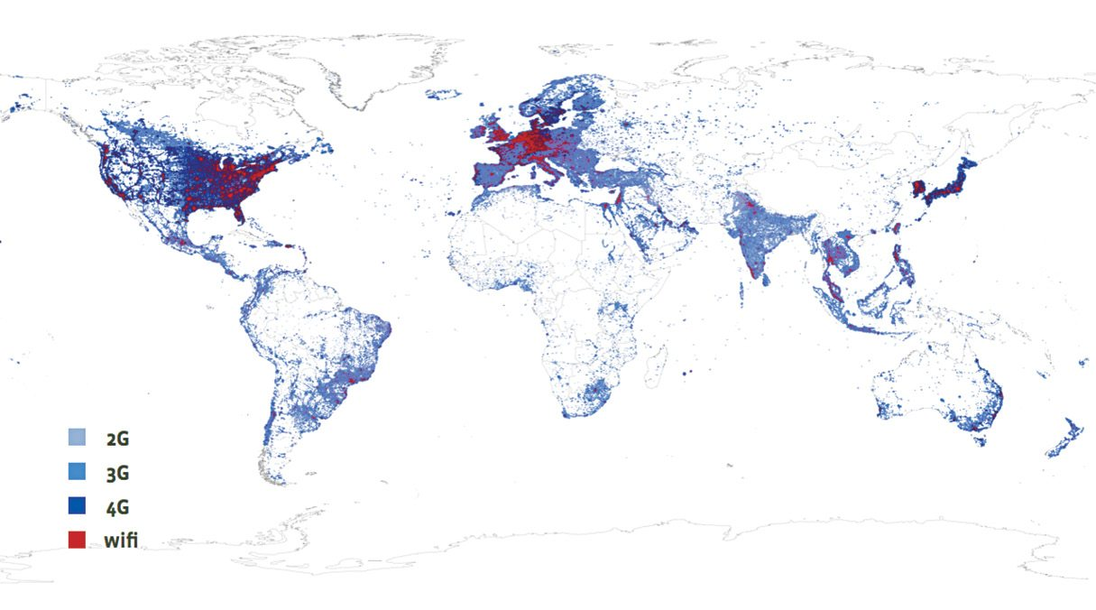 Fig. 1 Earth's wireless coverage heat map--Courtesy Facebook