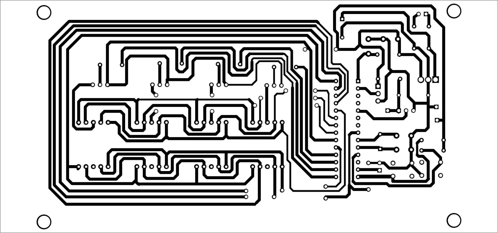 Fig. 2 Actual-size PCB layout for the alarm clock-cum-temperature indicator circuit