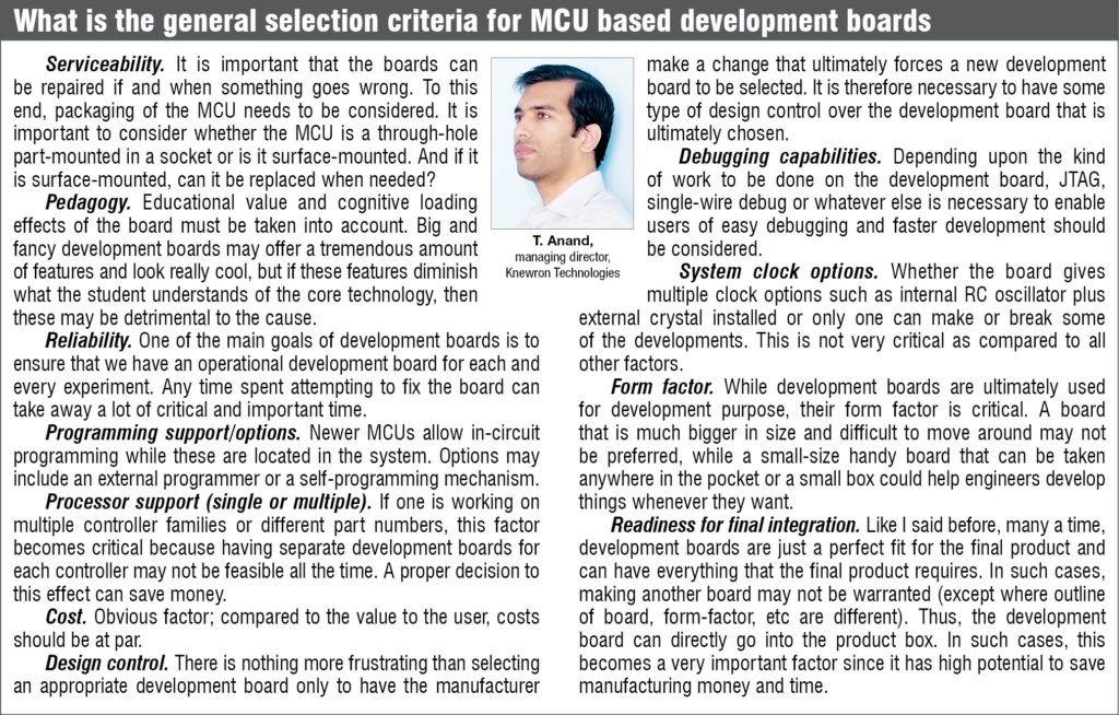What is the general selection criteria for MCU based development boards