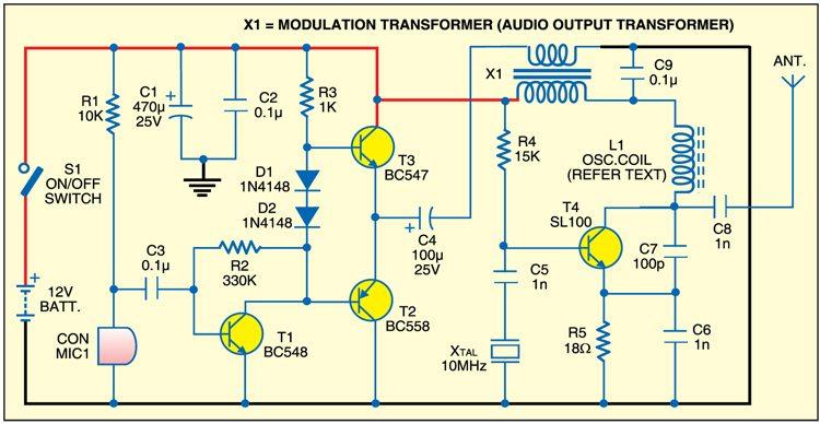 Crystal AM transmitter circuit