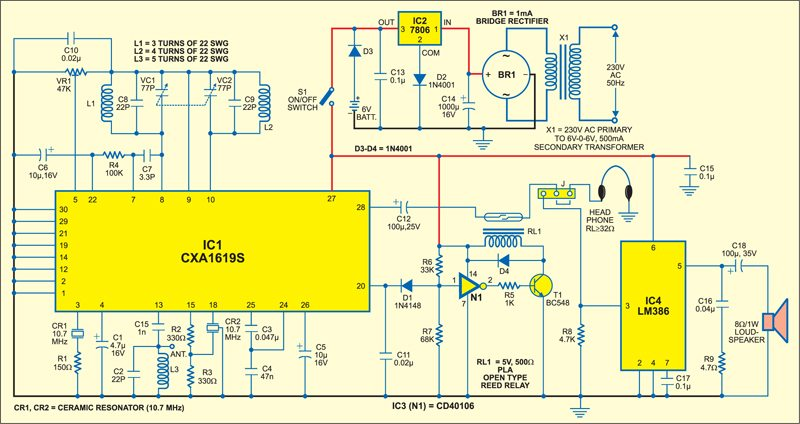Fig. 3: Complete circuit of the noise muting FM receiver including the power supply