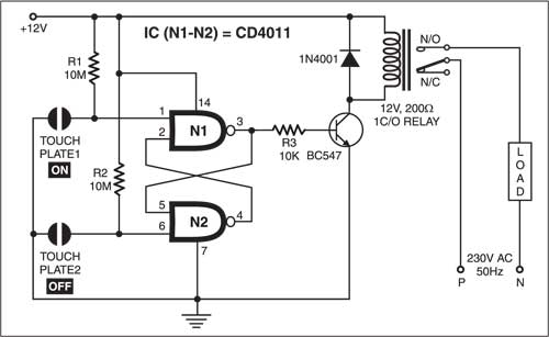 Simple Touch Sensitive Switch | Detailed Circuit Diagram ...