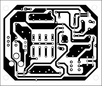 Fig. 2: An actual-size, single-side PCB for stereo audio distribution buffer for headphones