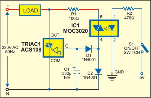 Fig. 1: Circuit of AC switch control with opto-triac