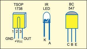 Fig. 2: Pin configurations of TSOP1738, IR LED and BC547