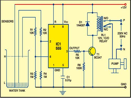 Water Pump Controller | Detailed Circuit Diagram Available