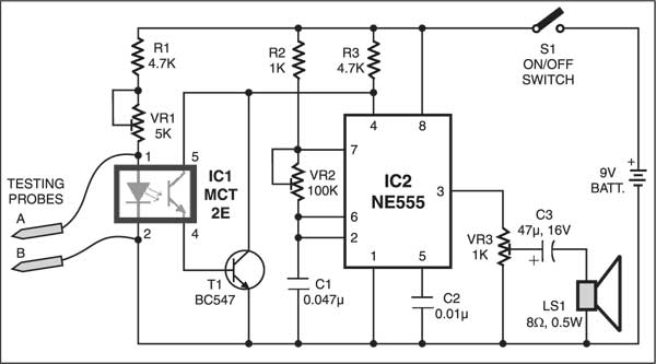 Low resistance continuity tester circuit