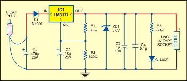 USB power socket circuit