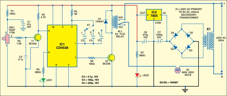 IR based light control:  Receiver circuit