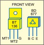 Fig. 3: Pinconfigurations ofTRIAC BT136and transistorBD677