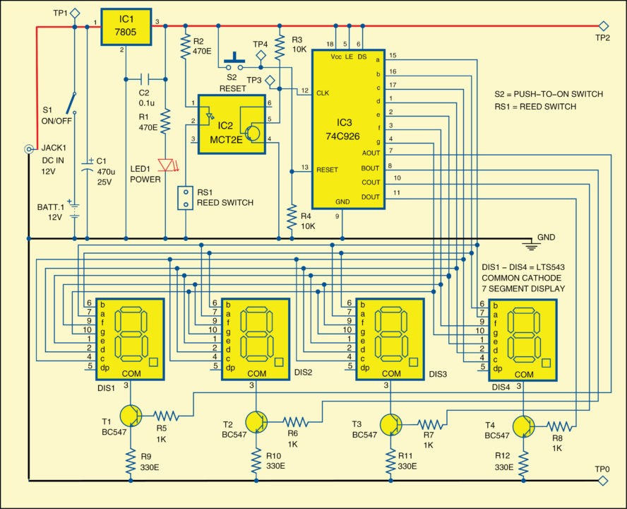 Fig. 2: Circuit diagram of rotation counter