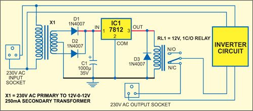 Fig. 1: Auto on/off circuit for inverter