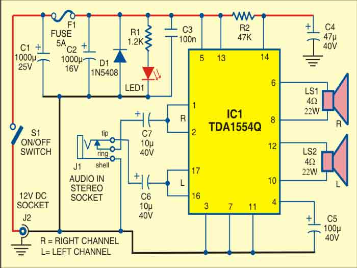 car stereo player circuit  detailed circuit diagram available