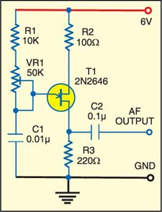 Fig. 1: Circuit for audio frequency generator