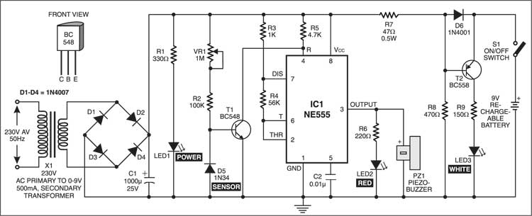 mains box heat monitor circuit