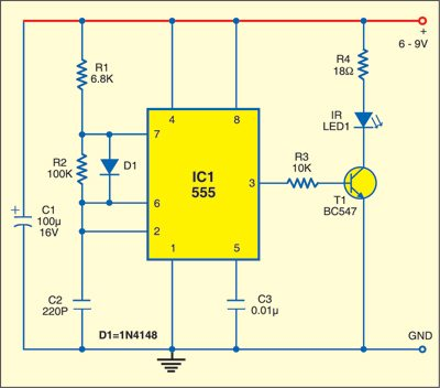Fig. 1: Infrared Burglar Alarm: Transmitter circuit