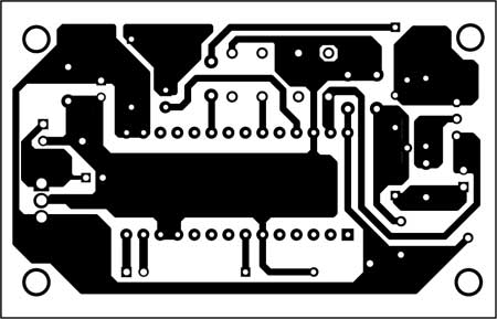 Fig. 2: An actual-size, single-side PCB for the voice recorder and playback system