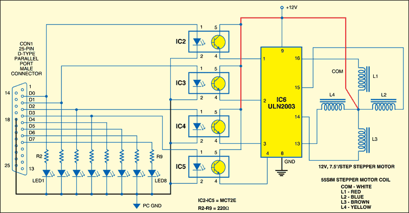 Fig.2: Interfacing circuit for controllingthe LEDs and the stepper motor
