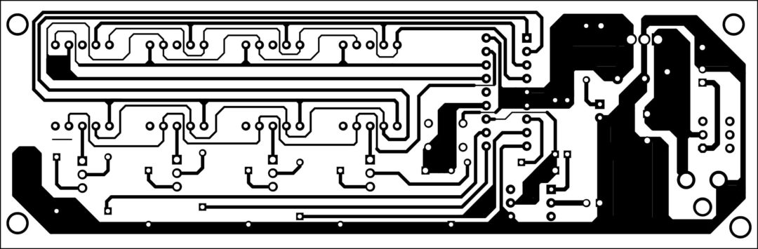 Fig. 3: An actual-size, single-side PCB for the rotation counter