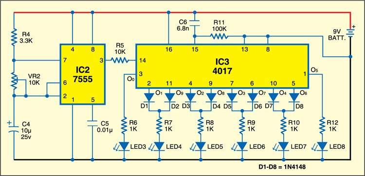 Circuit for LED pendulum