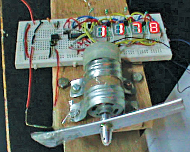 Fig. 1: Working prototype of rotation counter