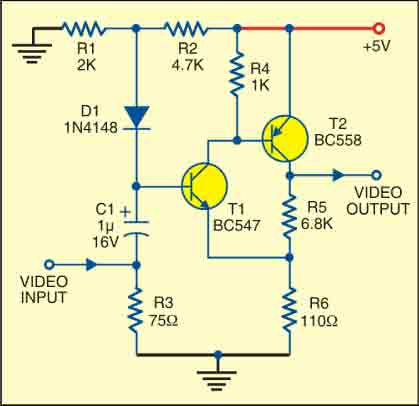 Fig. 2: Circuit of a simple video amplifier