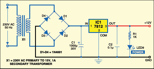 Fig.4:Circuit for 12V power supply