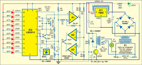Fig. 1: Circuit of the automatic fan controller for ACs
