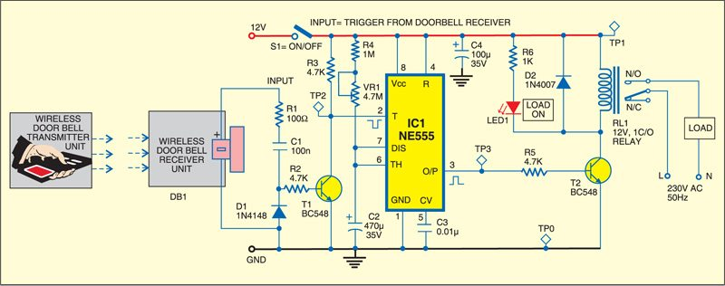 Fig. 1: Circuit of remote control using wireless doorbell