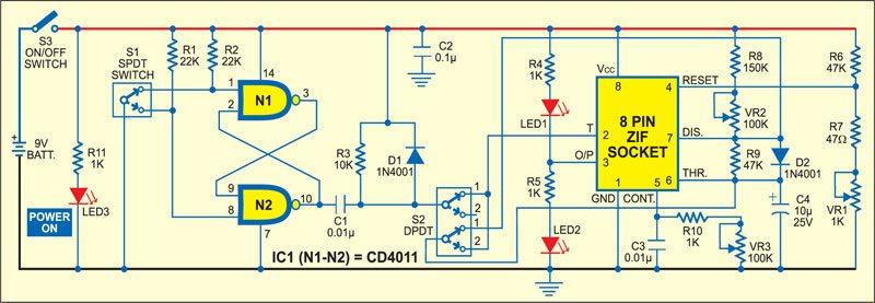 IC 555 timer tester circuit
