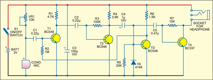 Fig. 1: Circuit of multipurpose listening device