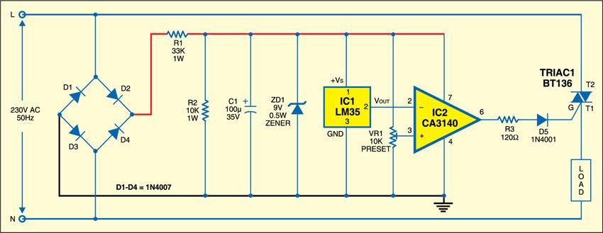 Fig. 1: PC Temperature controller circuit
