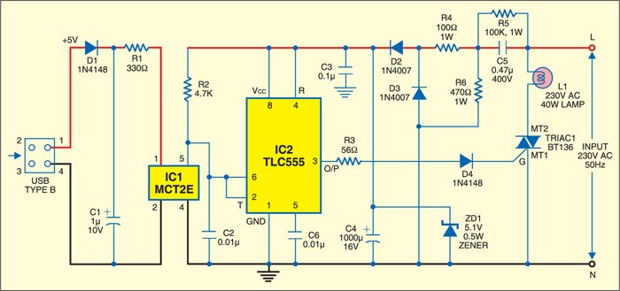 Table lamp circuit